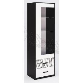 Сервант Терра 1Д без подсветки белый глянец + черный мат Миро-Марк