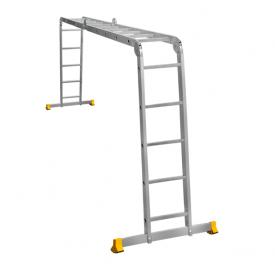 Лестница трансформер алюминиевая профессиональная четырехсекционная 2 x 4 + 2 x 5 ступеней