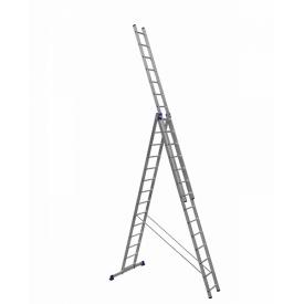 Алюминиевая трехсекционная лестница усиленная 3 х 14 ступеней (полупрофессиональная)