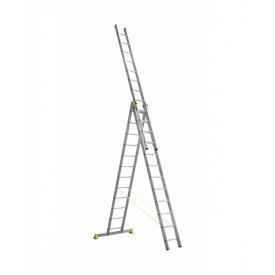 Лестница алюминиевая трехсекционная 3 х 12 ступеней (профессиональная)