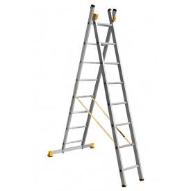 Лестница алюминиевая профессиональная двухсекционная 2 на 8 ступеней