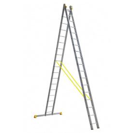 Лестница алюминиевая профессиональная двухсекционная 2 на 18 ступеней