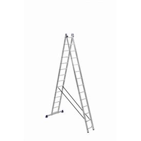 Лестница алюминиевая двухсекционная универсальная 2 на 14 ступеней