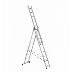 Лестница алюминиевая трехсекционная 3 х 9 ступеней (универсальная)