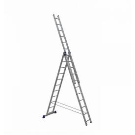 Алюминиевая трехсекционная лестница 3 х 11 ступеней (универсальная)