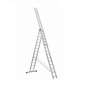 Лестница алюминиевая трехсекционная усиленная 3 х 15 ступеней (полупрофессиональная)