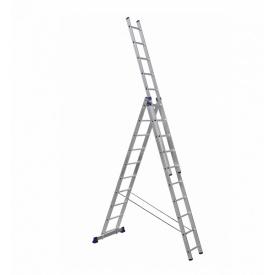 Алюминиевая трехсекционная лестница 3 х 10 ступеней (универсальная)
