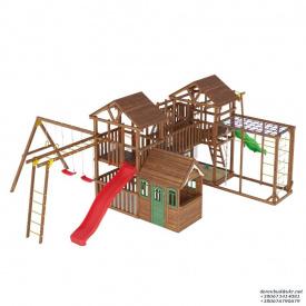 Деревянный детская площадка WOODEN TOWN №15 10,5м * 7,6м * 3,5М