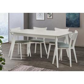 Стол обеденный Модерн Микс мебель 150(+40)х90 см бук белый