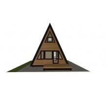 Каркасно-щитовий будинок у вигляді куреня 6.1х4.7 м. Під ключ