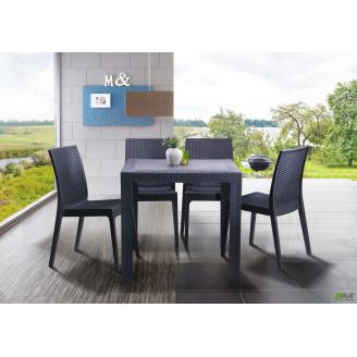Пластиковая мебель АМФ Selen + Saturno Антрацит для улицы