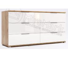 Комод Асти 6Ш дуб крафт + белый глянец Миро-Марк