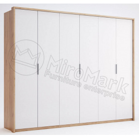 Шафа Асті 6Д без дзеркал дуб крафт + білий глянець Миро-Марк