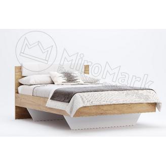 Кровать 140 Асти мягкая спинка дуб крафт + белый глянец без каркаса Миро-Марк