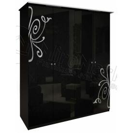 Шафа Богема 4Д без дзеркал чорний глянець Миро-Марк