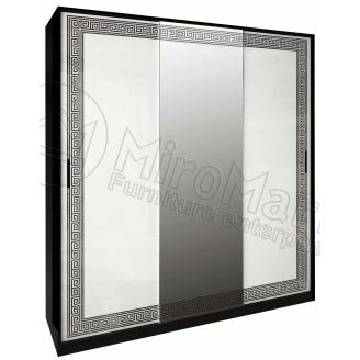 Шкаф-купе Виола 2 м белый глянец + черный мат Миро-Марк