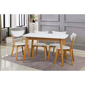 Стол обеденный Модерн Микс Мебель 120(+40)х75 см белый/бук