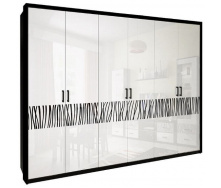 Шкаф Терра 6Д без зеркал белый глянец + черный мат Миро-Марк