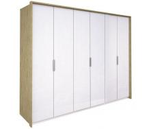 Шкаф Флоренция 6Д без зеркал дуб Сан Марино + белый глянец Миро-Марк