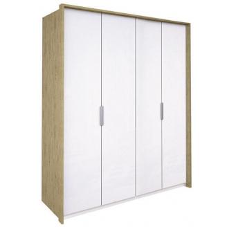 Шкаф Флоренция 4Д без зеркал дуб Сан Марино + белый глянец Миро-Марк