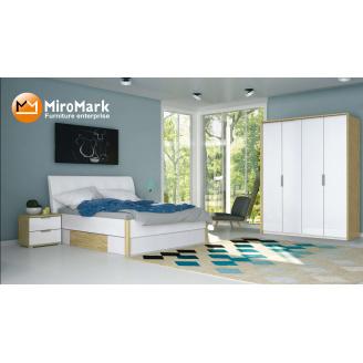 Спальня Флоренція 4Д дуб Сан Марино + білий глянець Миро-Марк