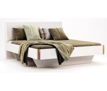 Кровать Ники 180 дуб крафт + белый глянец без каркаса Миро-Марк