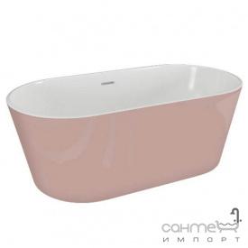 Окремостояча акрилова ванна Polimat Uzo 160x80 00438 біла/рожева