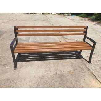 Деревянная скамейка Мегополис 1800 мм уличная садово-парковая на чугунных ножках