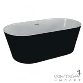 Отдельностоящая акриловая ванна Polimat Uzo 160x80 00337 белая/матовый черный