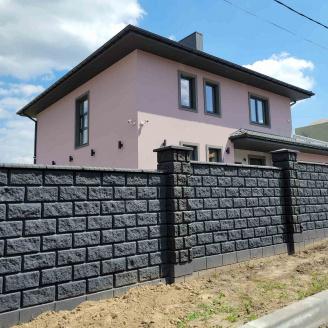 Блок декоративний рваний камінь кутовий 390х190х90х190 мм темно-сірий