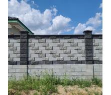 Блок декоративний рваний камінь для паркану 390х90х190 мм темно-сірий