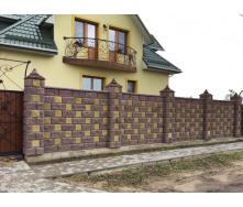 Блок декоративний рваний камінь кутовий з фаскою 390х190х90х190 мм коричневий