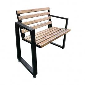 Садовая скамейка кованая с перилами лофт 21st Century Тоби Шо 0,5 м брус
