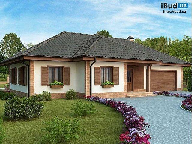 Фото одноповерхового будинку в проекті для будівництво за містом. Ідеальне  місце для відпочинку сім ї на 3-5 чоловік. Подивіться інформацію про дизайн  ... 487d767b25c82