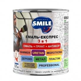Емаль-експрес SMILE 3в1 антикорозійна молотковий ефект 0,7 кг сріблястий