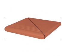 Ступень клинкерная угловая King Klinker Antyczna рифленая 330x330x16 мм красная