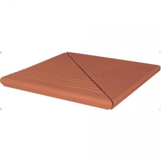 Ступень клинкерная угловая King Klinker Wenecka рифленая 330x330x14 мм красная