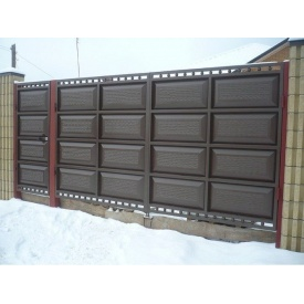 Ворота Шоколадка с калиткой филенка штампованная 2*3,2 м