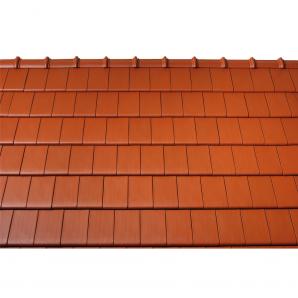 Черепица керамическая боковая левая Tondach Фигаро Делюкс Австрия 424х241 мм красная