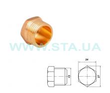 Заглушка латунная С.Т.А. наружная резьба 15 мм