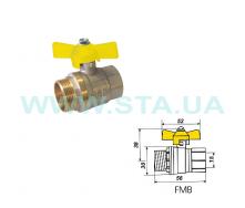 Кран шаровый С.Т.А. SD газ ВН бабочка 15 мм