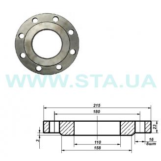 Фланец С.Т.А. плоский стальной Ру16 100 мм