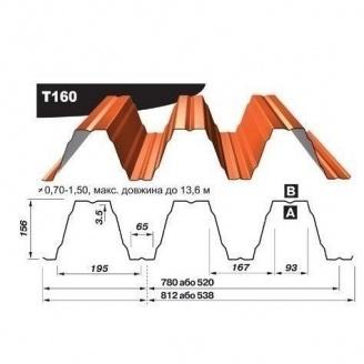 Профнастил несучий Pruszynski Т160 полиэстер 0,7*538*13600 мм Германия