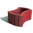 Цветочница круглая Золотой Мандарин 660х450х250 мм на сером цементе красный
