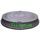 Люк тяжелый канализационный полимерпесчаный (С250) 25 т с замком черный (14.31.1)