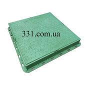 Люк пластмассовый квадратный 680х680х80 мм с замком зеленый (02978)
