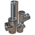 Дымоход двустенный из нержавеющей стали в оцинкованном кожухе 0,8х200/260 мм