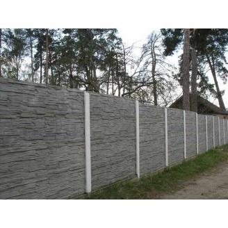 Плита паркану залізобетонна 0,5х2 м сіра