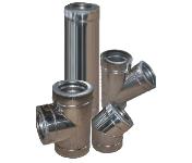 Димохід двостінний з нержавіючої сталі в оцинкованому кожусі 100/160х0,8 мм