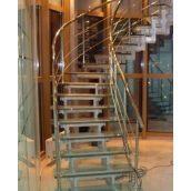 Поворотная лестница на 90 градусов с перилом из нержавейки